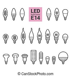 LED light E14 bulbs vector outline icon set - LED light...