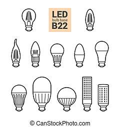 LED light B22 bulbs vector outline icon set - LED light...