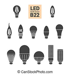 LED light B22 bulbs vector silhouette icon set - LED light...