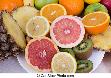 Tropical fruit slices - Group of different tropical fruits...