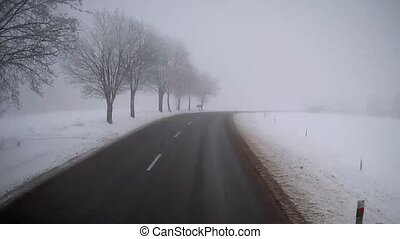 Truck driving on winter foggy road