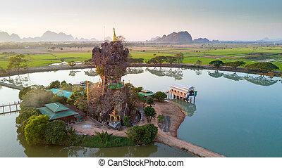 Kyauk Kalap pagoda in Myanmar - Aerial view of the Kyauk...