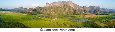 Panormaic mountain landscape in Myanmar - Panoramic aerial...