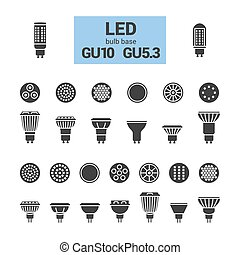 LED light GU10 bulbs vector silhouette icon set - LED light...