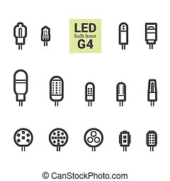 LED light G4 bulbs vector outline icon set - LED light bulbs...