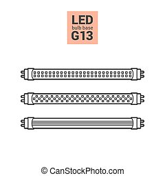 LED light G13 bulbs vector outline icon set - LED light...