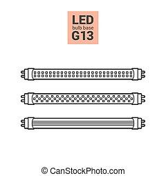 LED light G13 bulbs vector outline icon set - LED light...