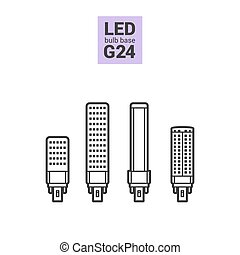 LED light G24 bulbs vector outline icon set - LED light...