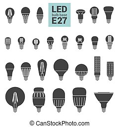 LED light E27 bulbs vector silhouette icon set - LED light...