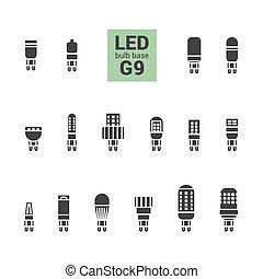 LED light G9 bulbs vector silhouette icon set - LED light...