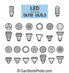 LED light GU10 bulbs vector outline icon set - LED light...