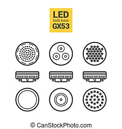 LED light GX53 bulbs vector outline icon set - LED light...