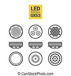 LED light GX53 bulbs vector outline icon set - LED light...