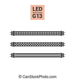 LED light G13 bulbs vector silhouette icon set - LED light...