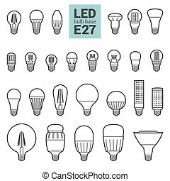 LED light E27 bulbs vector outline icon set - LED light...