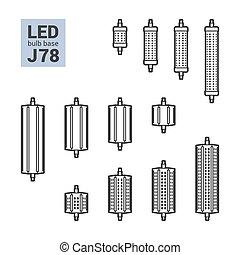 LED light J78 bulbs vector outline icon set - LED light...