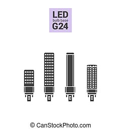 LED light G24 bulbs vector silhouette icon set - LED light...