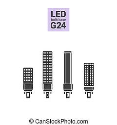 LED light G24 bulbs vector silhouette icon set - LED light...