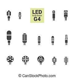 LED light G4 bulbs vector silhouette icon set - LED light...