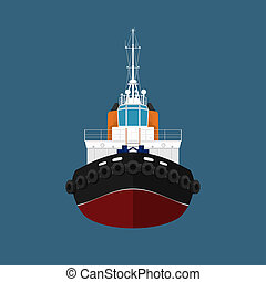 Front View of Push Boat - Front View of the Vessel Tugboat,...