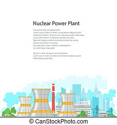 Flyer Nuclear Power Plant on White Background - Nuclear...