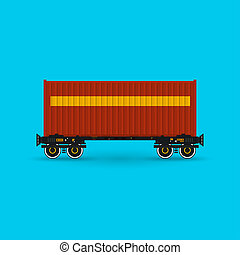 Platform with Red Container Isolated - Red Container on...