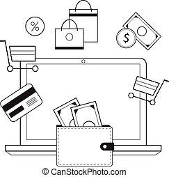 Investing and Personal Finance, Credit and Budgeting. Cashflow management and financial planning. E-commerce. Vector illustration.