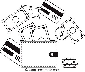 Investing and Personal Finance, Credit and Budgeting. Cashflow management and financial planning. E-commerce. Vector illustration