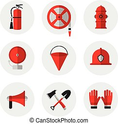 Firefighting and fire safety equipment flat icons. Fire...