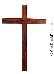 Simple wooden cross - Simple wooden Christian cross isolated...