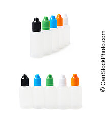Bunch of plastic 30 ml bottles isolated over the white...
