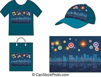 Night City with Fireworks, Seamless