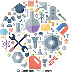 Icons for industrial and science arranged in circle. Vector...