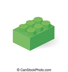 Isometric Plastic Building Block with shadow. Vector colored...