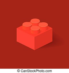 Isometric Plastic Building Block with shadow. Vector red...