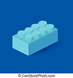 Isometric Plastic Building Block with shadow. Vector blue...