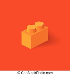 Isometric Plastic Building Block with shadow. Vector orange...