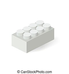 Isometric Plastic Building Block with shadow. Vector grey...
