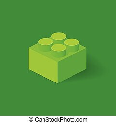 Isometric Plastic Building Block with shadow. Vector green...