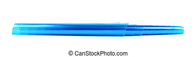Roll tube of transparent blue plastic film coating isolated...