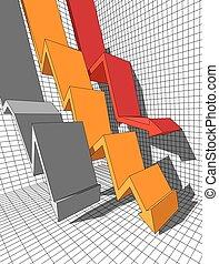 three falling diagram arrows - three falling arrows in...