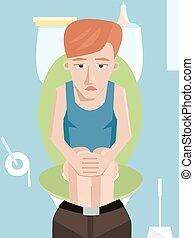 sad man sitting on toilet vector cartoon