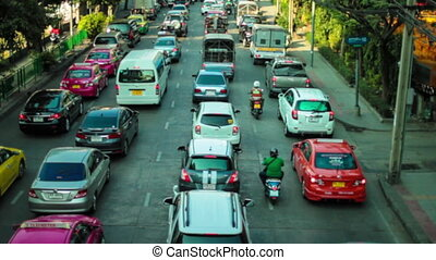 Car traffic jam on the highway - The car traffic jam on the...