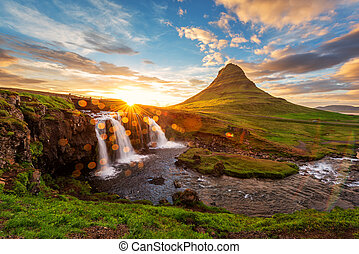 Kirkjufellsfoss - Colorful sunrise on Kirkjufellsfoss...
