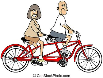 Couple riding a bicycle built for two