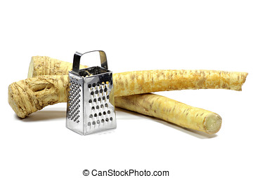 horseradish with grater isolated on white background