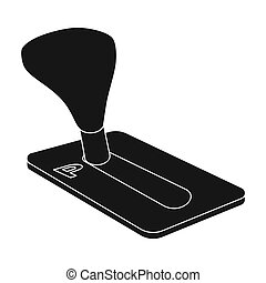 Transmission icon in black style isolated on white...