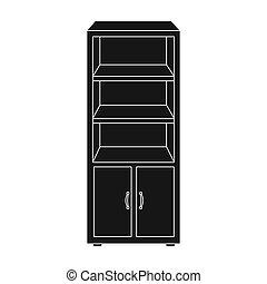 estilo, Ilustração, escritório, Símbolo, isolado,  bitmap, fundo, estante de livros, pretas,  rastr,  Interior, ícone, branca, mobília, estoque