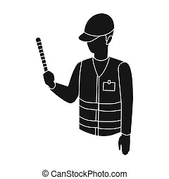 Parking attendant icon in black style isolated on white...