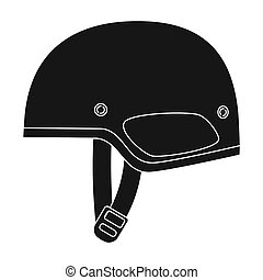 Army helmet icon in black style isolated on white...